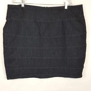 A-Line Dark Stretch Jean Mini Skirt Plus size 18W
